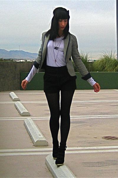 white Buffalo Exchange t-shirt - black Lux shorts - Urban Outfitters blazer - bl
