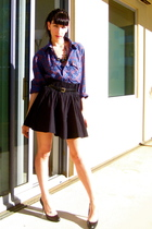 black H&M skirt - blue Wrangler shirt - black vintage belt
