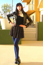 black Express jacket - white vintage scarf - blue Cant remember tights - black J