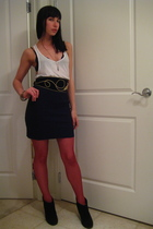 red Wolford tights - white Forever 21 top - black American Apparel skirt - vinta