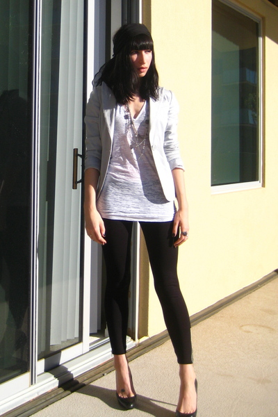 black H&M leggings - gray H&M blazer - white Urban Outfitters t-shirt - black vi