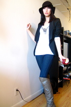 blue H&M jeans - white rachel roy t-shirt - black Zara jacket - brown Aldo boots