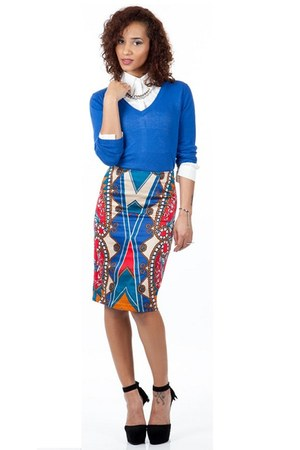 blue Shoxie sweater - white Shoxie shirt - red Shoxie skirt
