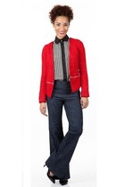 red Shoxie jacket - navy Shoxie jeans - black Shoxie shirt - black Shoxie pumps