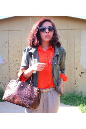 orange thrifted shirt - Betsey Johnson sunglasses