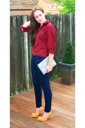 mustard stilleto Topshop heels - navy skinny jeans H&M jeans