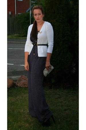 pearl clutch vintage bag - Zara cardigan - leather asos belt