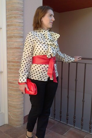 red BANGOOD purse - red BANGOOD belt - ivory BANGOOD blouse