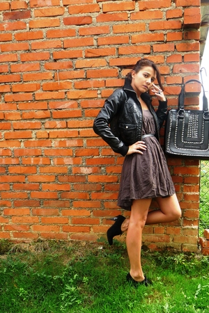 H&M jacket - Zara dress - bettyflowers shoes - roccobarocco purse