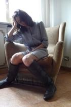 Zara dress - H&M belt - Zara boots - H&M earrings