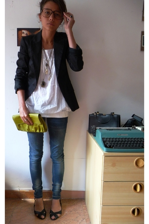 Zara blazer - pull&amp;bear shirt - Bershka jeans - H&amp;M purse - none shoes - vintage