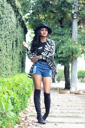 black fedora zaful hat - black boots Bottero boots - blue shorts shein shorts