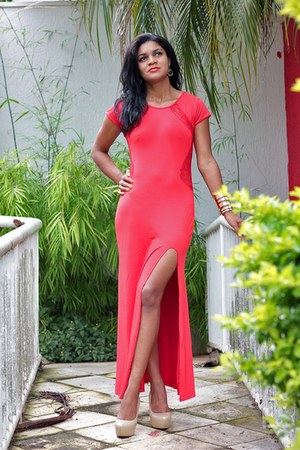 red maxi dress ZNU dress - nude blackfive heels