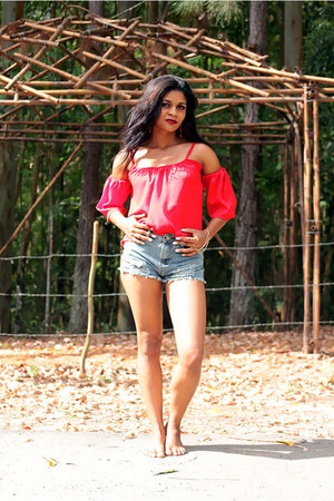 blue shorts Dressin shorts - red sexy women top Dressin top