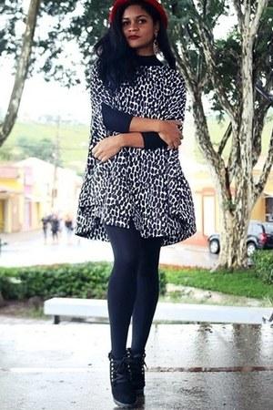 black winter shein dress - black boots sammydress boots