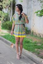 yellow tribal Sheinside dress - nude sandals miucha sandals