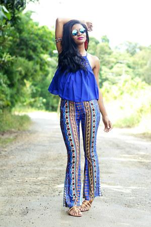 blue hippie skirt - blue pants zaful panties