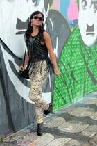 black fringe romwe shirt - black boots sammydress boots