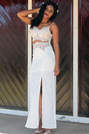 white sexy Sheinside dress - nude AmiClubWear heels