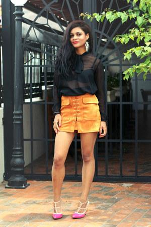gold skirt dresslily skirt - hot pink shoes VESSOS shoes