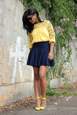 yellow blouse choiescom blouse - navy summer Sheinside skirt