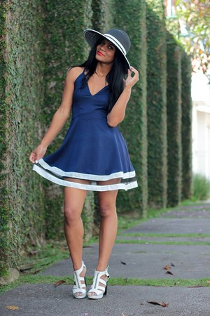 black hat sammydress hat - navy mini dress ZNU dress
