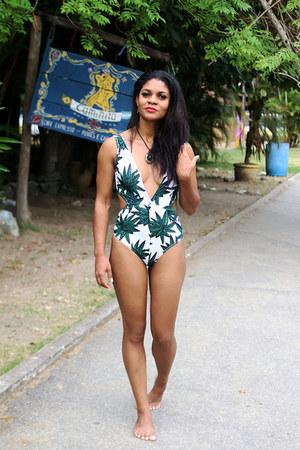 teal green shein swimwear