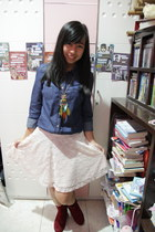 white lace H&M skirt - maroon suede Payless boots - navy denim shirt Promod top