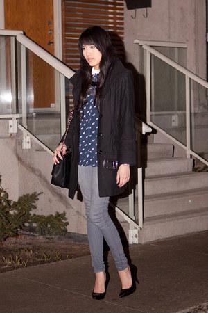navy Zara blouse - silver Forever 21 jeans
