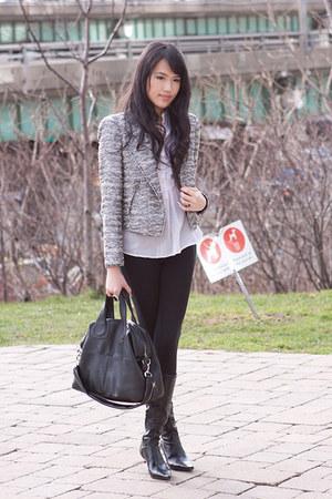 white tweed Zara blazer - black leather BCBG boots