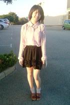 light pink Forever21 blouse - dark brown heels