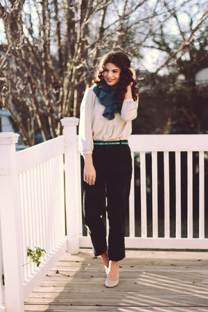 ruffled blue ShopRuche scarf - plaid trouser Target pants - Gap blouse