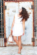 white Gap dress - off white lulus bag
