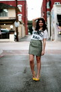 Urban-outfitters-shirt-yellow-forever-21-pumps-tweed-target-skirt