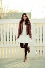 White-forever-21-dress-leather-jacket-anthropologie-necklace