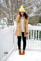 skinnies Gap jeans - camel Tulle coat - pom pom beanie Gap hat