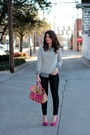 Pink-forever-21-pumps-grey-gap-sweater-forever-21-top