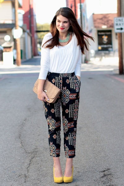 tribal riffraff pants - savoir faire necklace - Forever 21 top