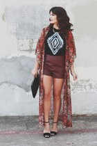 Forever 21 bag - leather Forever 21 shorts - windsor heels - kimono riffraff top