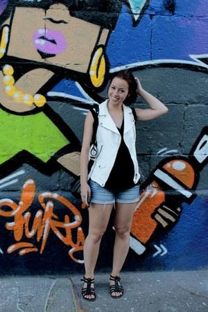 white Zara vest - black H&M shirt - white H&M bag