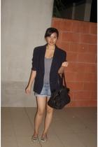 black blazer - silver Target Australia shirt - blue Just jeans shorts - gray Nov