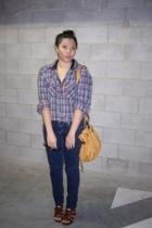 blue Dotti jeans - yellow handbag Mimco - brown gladiator heels zu