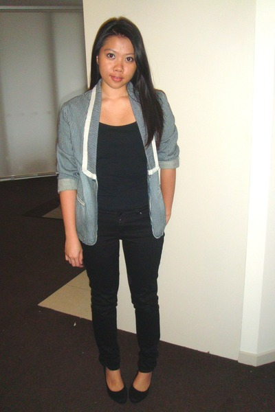blue cotton on blazer - black Valley Girl top - black Dotti jeans - black shoes