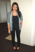 blue cotton on blazer - black Valley Girl top - black Dotti jeans - black shoes