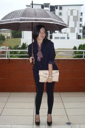 blazer - blouse - leggings - Aldo shoes -