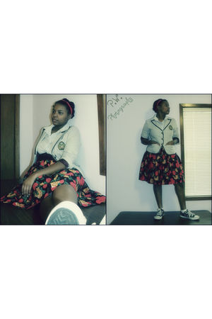 Airwalk shoes - white IZOD shirt - gray Heritage 1981 blazer - red skirt
