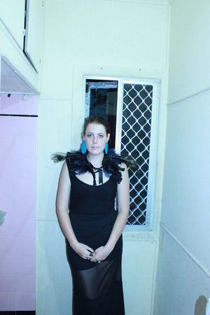 black vintage skirt - black vintage top - blue Handmade Earrings accessories - b