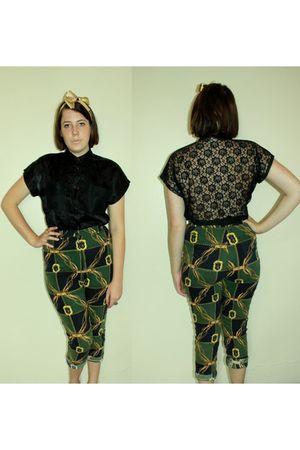 green vintage pants - black Vintage Katies blouse - gold vintage scarf