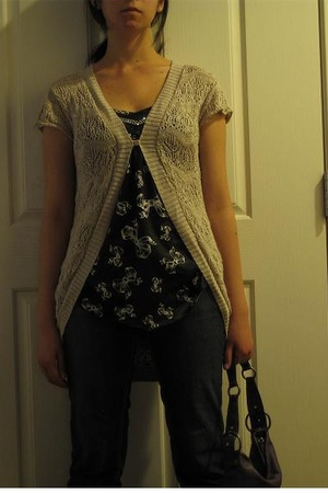 blue YMI jeans - beige Wet Seal sweater - purple bag - black Wet Seal top