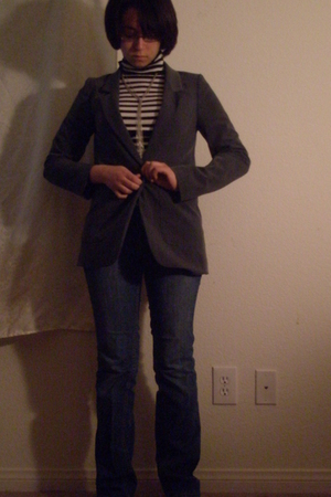 blue YMI jeans - gray H&M blazer - white striped Forever 21 top - silver tie H&M